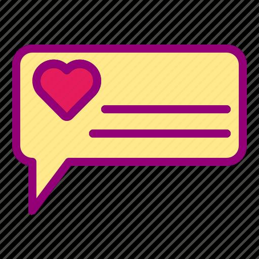 chat, heart, love, message, valentine icon