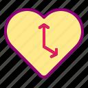 clock, heart, love, time, valentine icon
