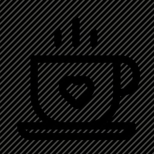 coffee, cup, drink, heart, love, tea icon