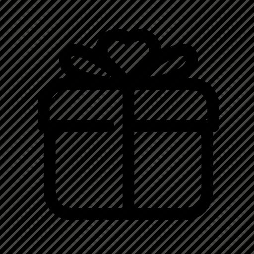 box, gift, heart, love, romance, romantic, valentine icon
