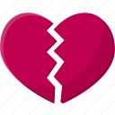 broken, broken heart, broken heart shaped, dislike, heart, love and broken heart icon