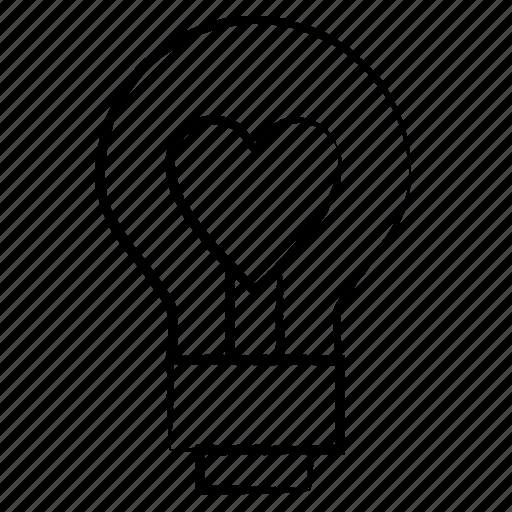 bulb, light, romantic, valentine icon