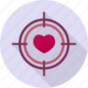 arrow, hit, love, romance, target, valentine icon