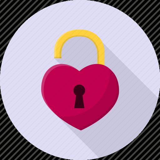 heart, lock, opened, valentine icon