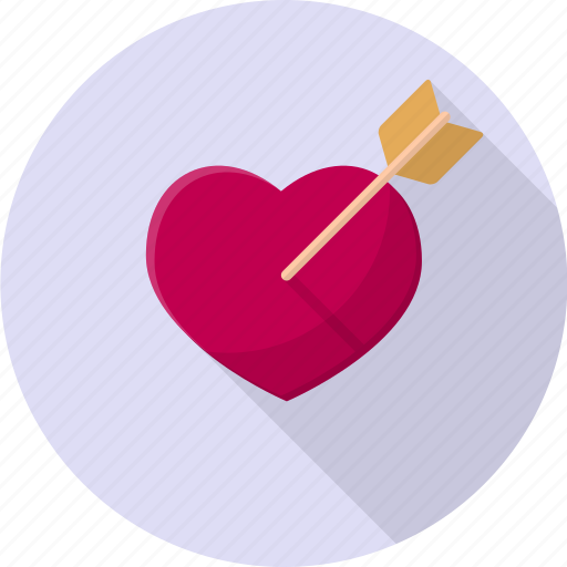 cupid, heart, love, pierced, relationship, romantic, valentine icon