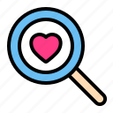 find, love, romance, search, valentine, wedding icon