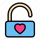 love, romance, unlock, valentine, wedding icon