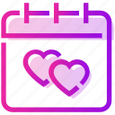calendar, heart, valentine day icon