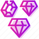 diamond, emerald, valentine day icon