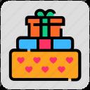 gift box, heart, valentine day icon