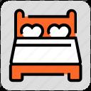 bedroom, couple, honeymoon, sleeping, valentine day icon