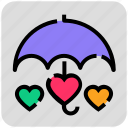 heart, protection, umbrella, valentine day