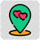 dating, heart, location pin, valentine day icon