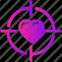 heart, target, valentine day icon