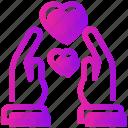 hand, heart, relationship, romance, valentine day icon