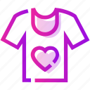 heart, male, t-shirt, valentine day icon