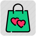 heart, purchases, shopping bag, valentine day icon