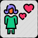 female, heart, love, valentine day icon