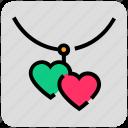 heart, locket, necklace, valentine day icon