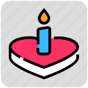 cake, candle, heart, valentine day