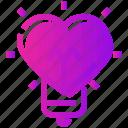 bulb, heart, light, valentine day