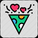 celebration, heart, party, rocket, valentine day icon