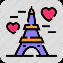 eiffel tower, france, heart, paris, valentine day