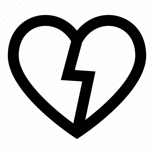 broken, heart, love, romantic, valentine icon