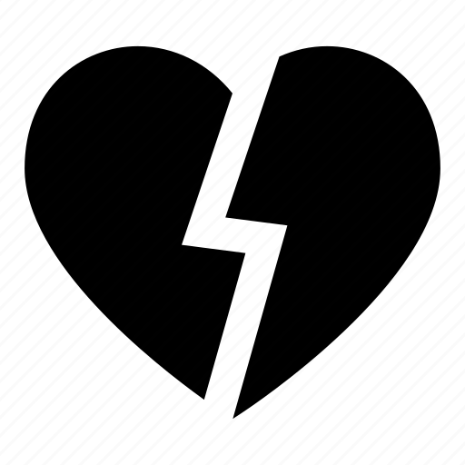 broken, heart, love, romantic, valentine icon