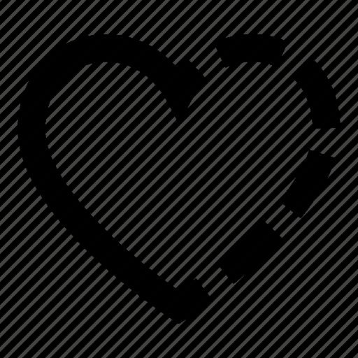 half, heart, love icon
