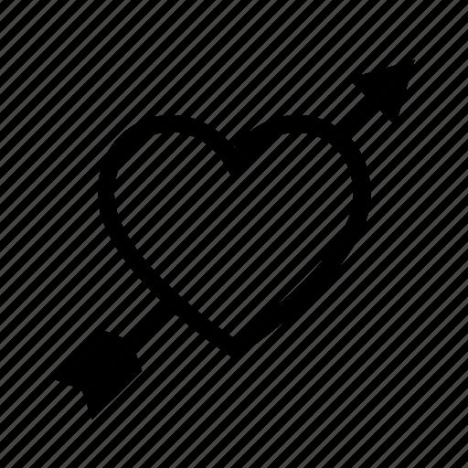 arrow, cupid, heart, love, romantic icon