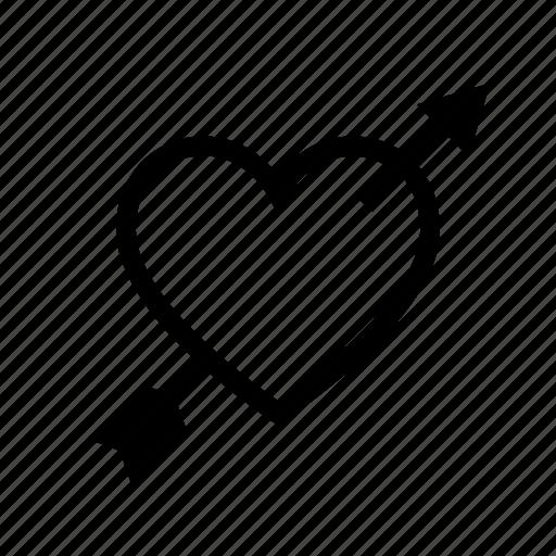 arrow, cupid, heart, love, romantic, valentine icon