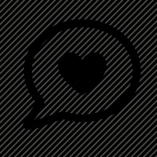 bubble, heart, love, message, romantic, speech icon