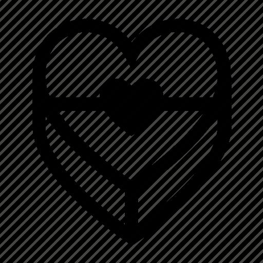 box, gift, heart, love, present, romantic icon