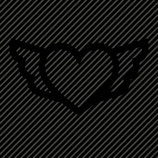 heart, love, romantic, wings icon