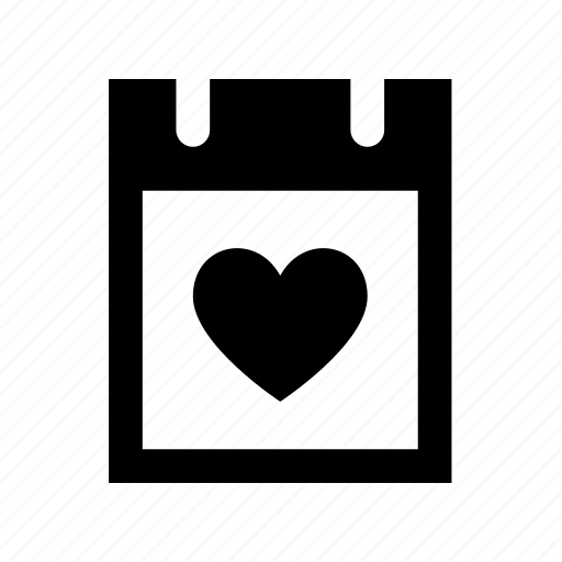 calendar, date, day, heart, love, romantic icon