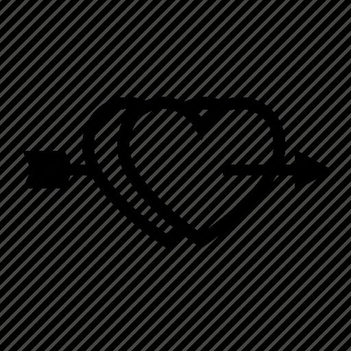 arrow, couple, hearts, love, romantic, two icon