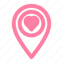 valentine, romance, love, pin, location, navigation icon