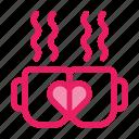 coffe, cups, love, romance, valentine icon icon