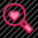 find, love, romance, search, valentine, wedding icon