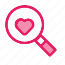 find, love, romance, search, valentine, wedding icon icon