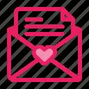 letter, love, mail, romance, valentine icon icon
