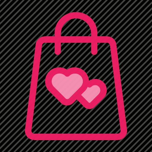 bag, love, romance, shopping, valentine icon icon
