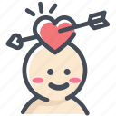 arrow, cupid, engagement, falling in love, love, shy, valentine icon