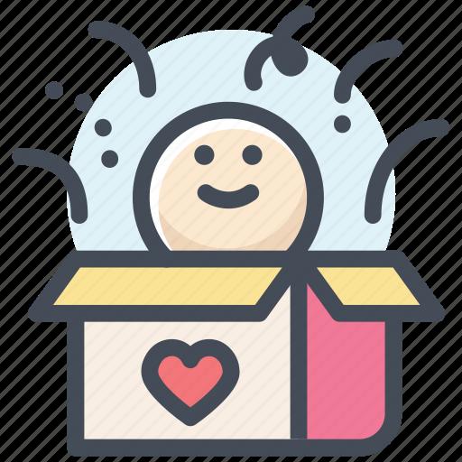box surprise, gift box, heart, human, love, present box, valentine icon