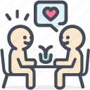 date, dating, dinner, heart, love, restaurant, valentine icon