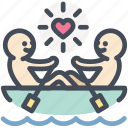 boat, canoe, love, paddle, romantic, rowing, valentine icon