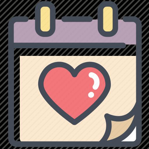 calendar, day, heart, love, valentine, valentine's day icon
