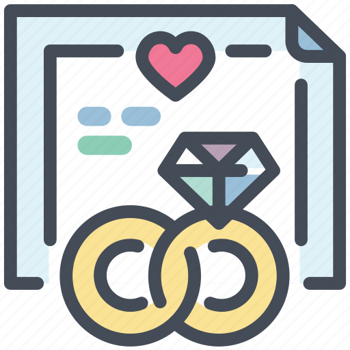 diamond, love, marriage certificate, marry, ring, valentine, wedding ring icon