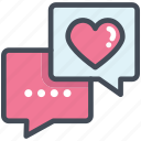 celebration, chat, heart, love, message, testimonial, valentine icon
